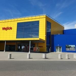 Duży żółto niebieski budynek